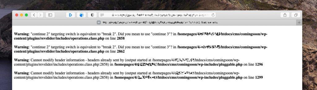 """Diese PHP-Warnung kam bei der Webseite meiner Kundin: """"Warning: continue targeting switch is equivalent to break."""" In diesem Fall lag es an einem veralteten Plugin, aber es gab auch Dateien im Theme, die den Fehler auslösten."""