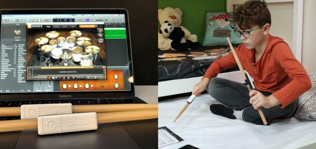 Schlagzeug lernen ohne Drum Kit und per MIDI auch in GarageBand professionelle Sets einspielen –alles soll mit Senstroke möglich sein.