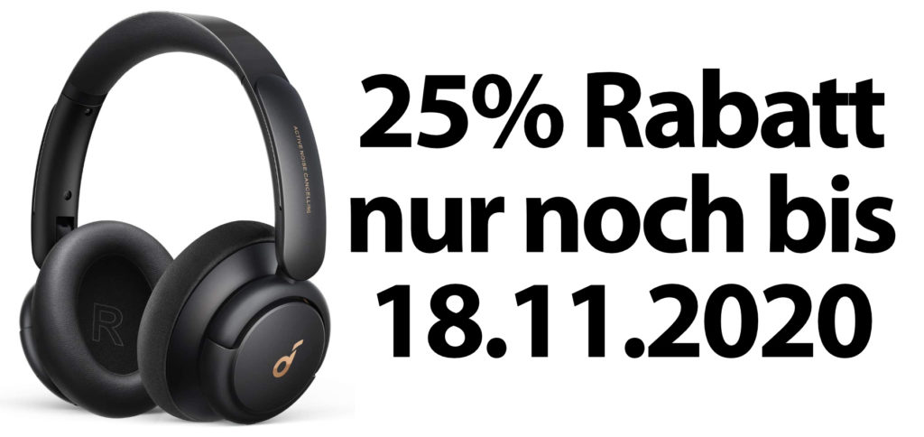 Nur noch bis Mittwoch, den 18.11.2020, bekommt ihr die Soundcore Life Q30 Bluetooth-Kopfhörer dank dem aufgezeigten Gutscheincode mit 25% Preisnachlass.