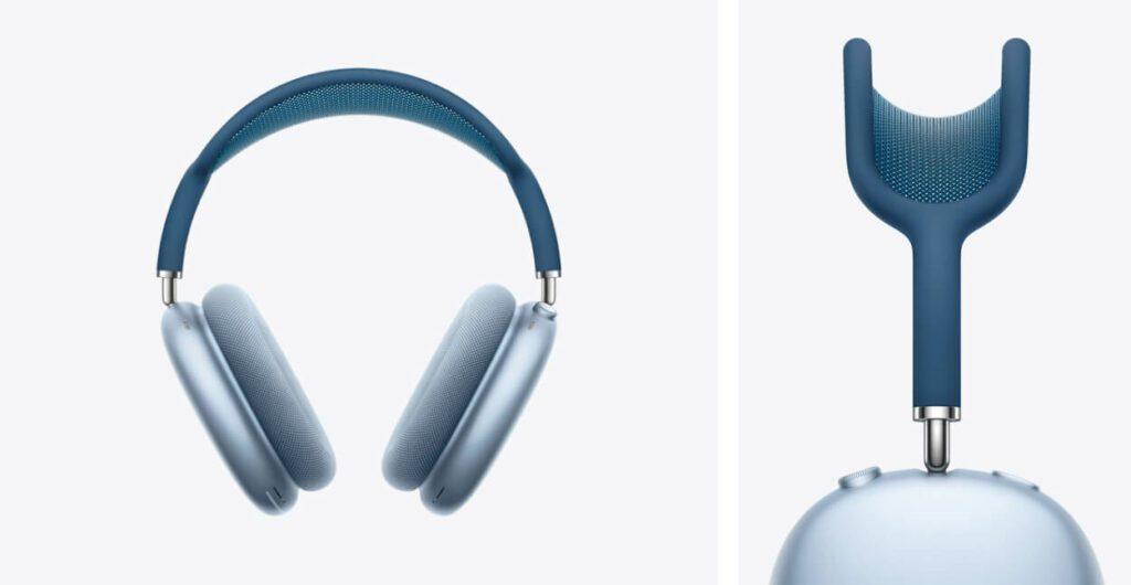 """Die AirPods Max sind in verschiedenen Farben erhältlich –hier sieht man zum Beispiel """"Sky Blau""""."""