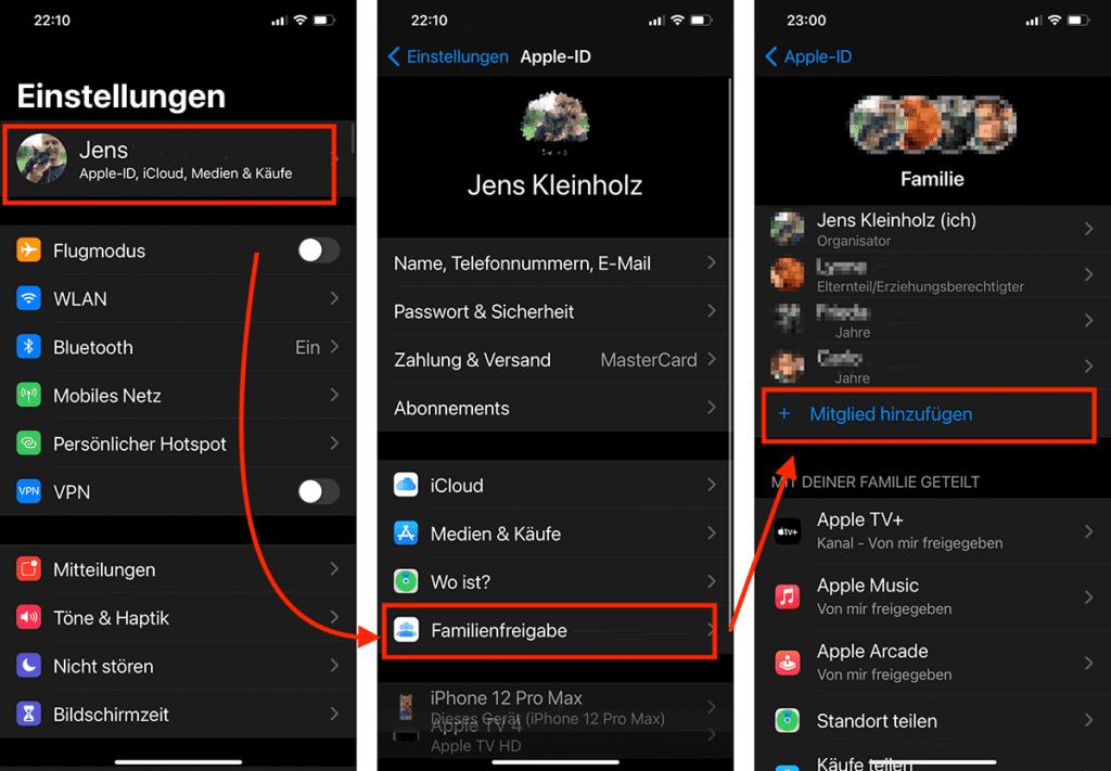 Wie man in der Familienfreigabe ein neues Mitglied hinzufügt, seht ihr anhand dieser drei Screenshots von meinem iPhone. Man kann die Familienfreigabe jedoch auch an jedem Mac verwalten.