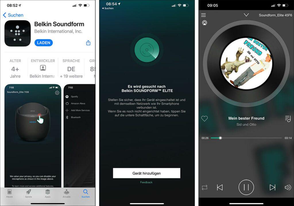 Im App Store gibt es eine Belkin Soundform App, um den Lautsprecher einzurichten. Für die die Einrichtung möchte die Belkin-Box Zugriff auf Bluetooth und WLAN.