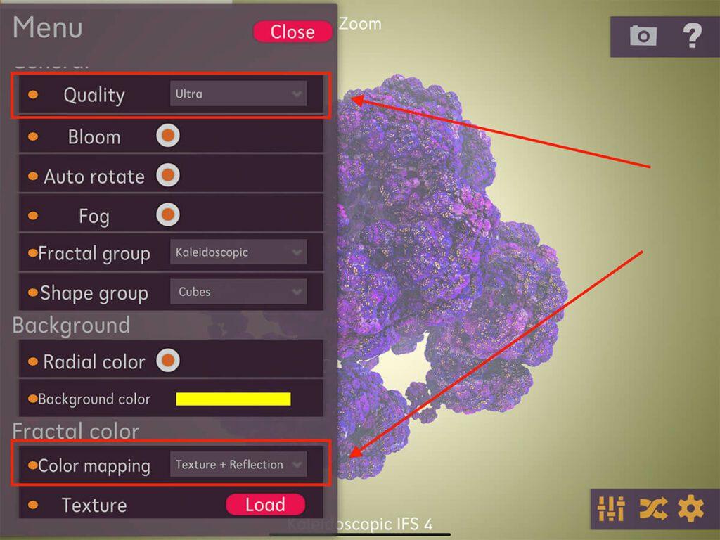 """Die Optionen """"Quality"""" und """"Texture"""" sollten man ebenfalls ins Fractals 3D umstellen, damit man eine möglichst hohe Prozessorlast erzeugt."""