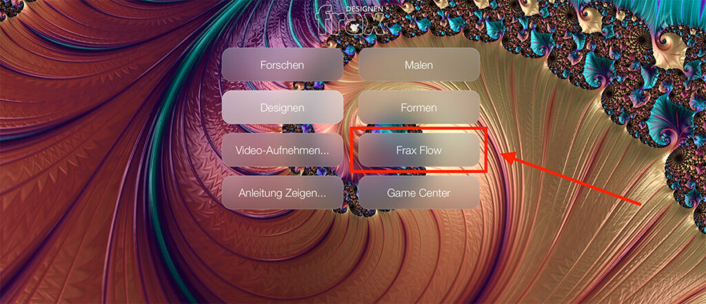 """In Frax HD wählt man die Option """"Frax Flow"""", um eine sich ständig änderte Darstellung von Fraktalen zu erhalten."""