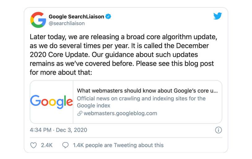 Manchmal hat man Glück und erfährt durch den offiziellen Twitterkanal von Google-Search über ein anstehendes Core Update … das ist aber leider nicht oft der Fall.
