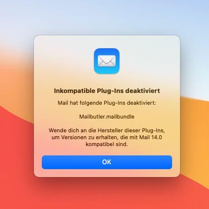 Apple Mail deaktiviert das Mailbutler Plugin