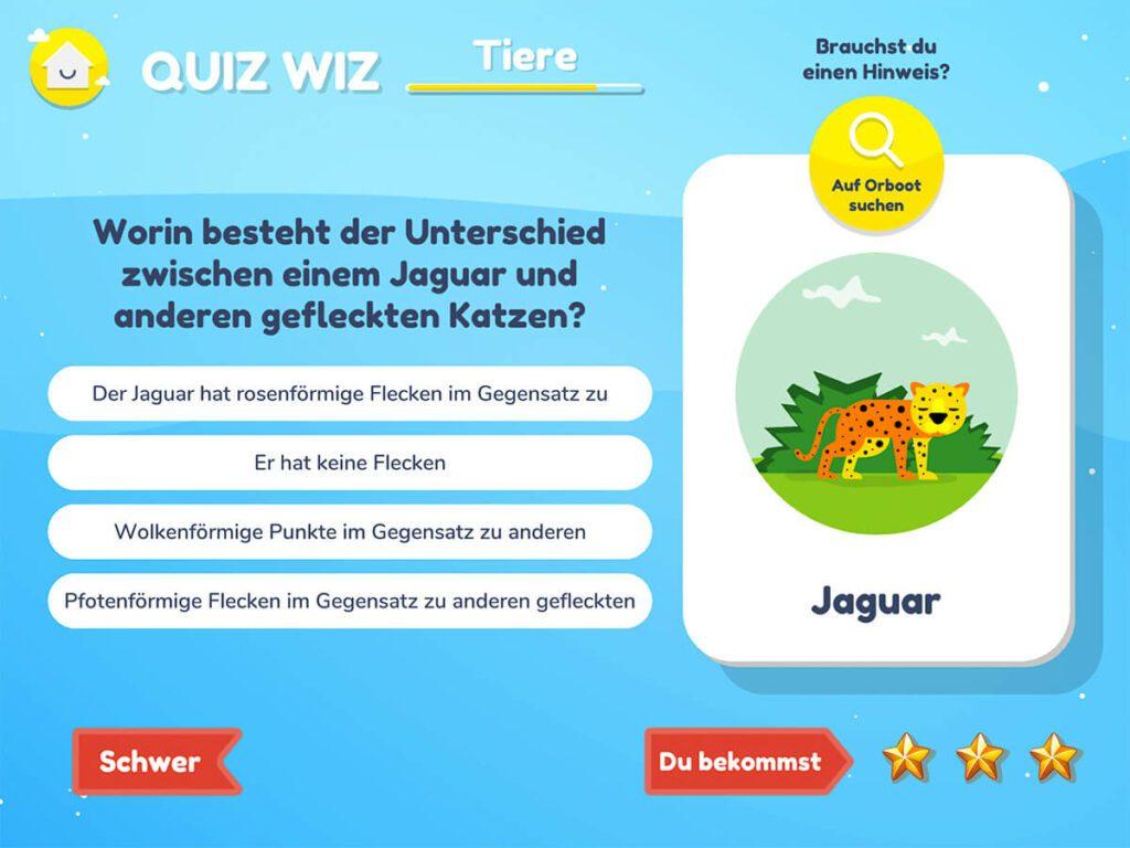 """Die Fragen im Bereich Quiz WIz sind alle auf Informationen bezogen, die man über die AR-App beim Erkunden entdecken kann. Wenn man die Lösung nicht weiß, kann man """"Auf Orboot suchen"""" wählen und findet dann in der App einen Hinweis, wenn man die entsprechende Stelle auf dem Globus gefunden hat."""