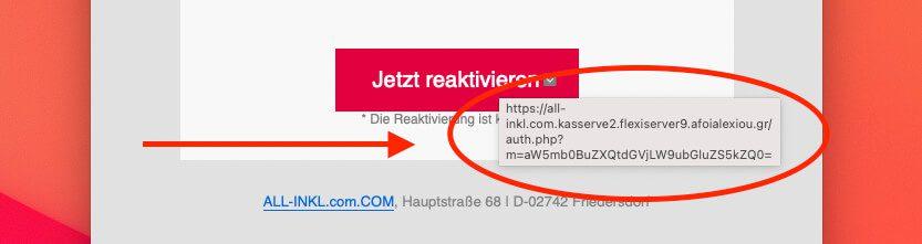 """Hält man die Maus über den Link, wird die echte URL angezeigt, die verlinkt ist. In diesem Fall kommt zwar """"all-inkl.com"""" darin vor, aber die Top-Level-Domain vor dem Slash lautet """"afoialexiou.gr"""", also irgend eine griechische Domain und garantiert nicht all-inkl.com."""