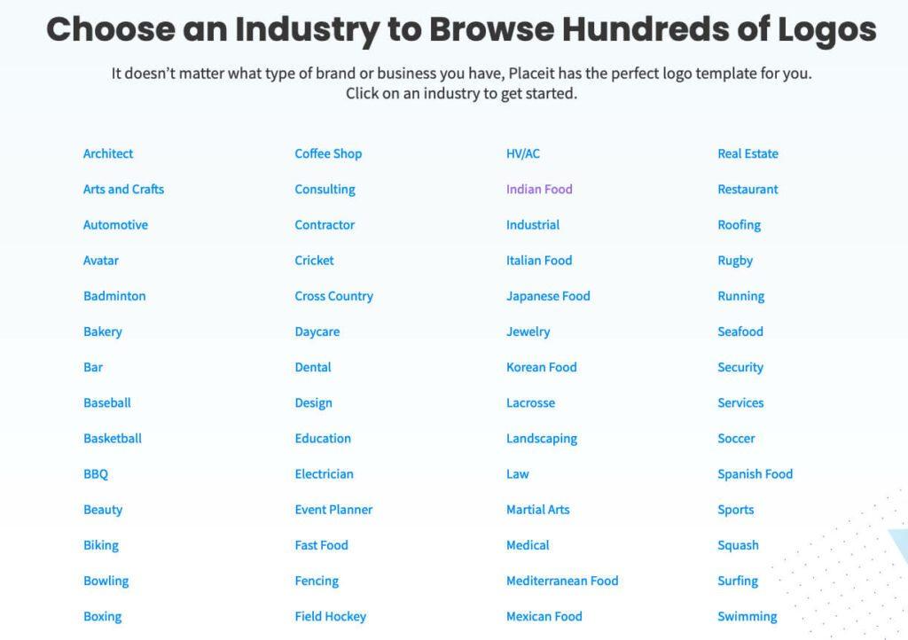 Es gibt bei den Logos Kategorien mit Vorlagen für alle erdenklichen Unternehmen. Hier nur eine Auswahl. Die komplette Liste ist bestimmt doppelt so lang.