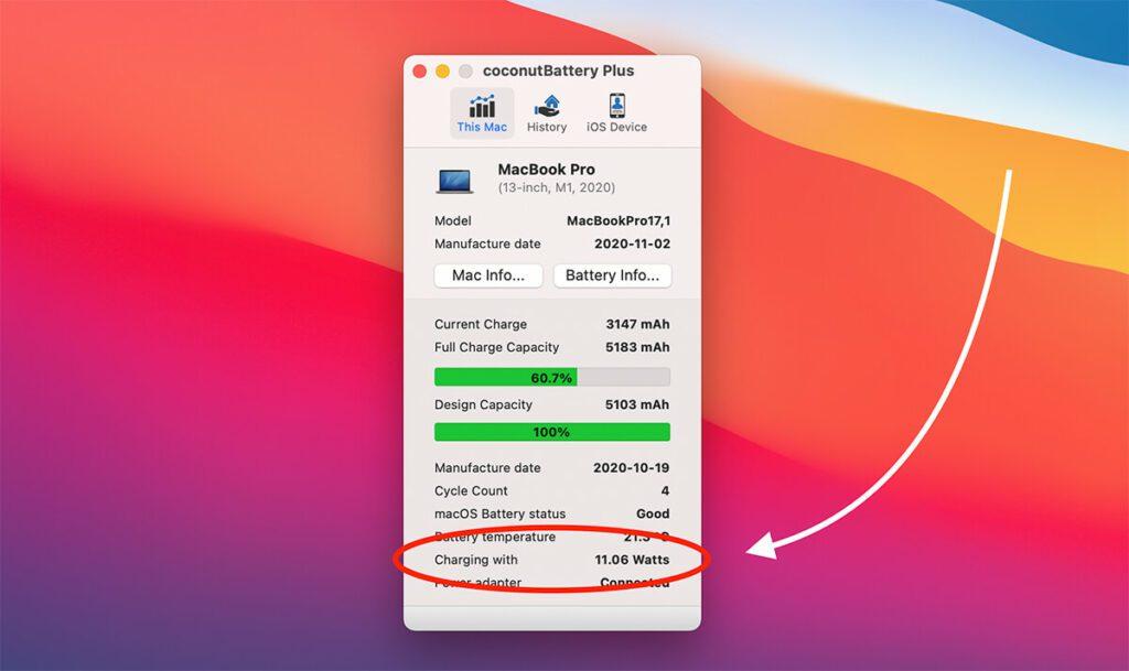 Mein Apple SIlicon MacBook Pro 13 Zoll wird laut Coconut Battery mit 11 Watt geladen, wenn die Powerbank angeschlossen ist (Fotos: Sir Apfelot).