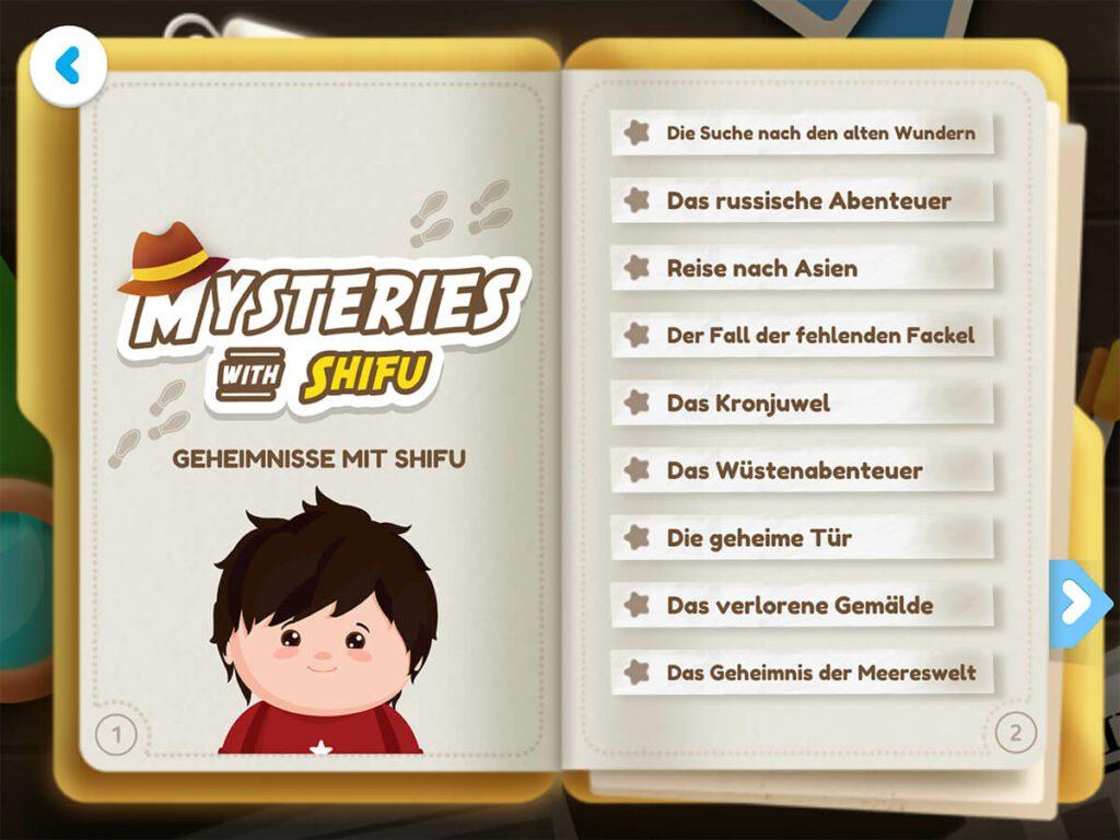 """Im Spielemodus """"Geheimnisse"""" erlebt man mit der Hauptfigur Shifu Geschichten, in deren Verlauf man bestimmte Dinge auf der Welt finden muss. Ein kleines Entdeckerspiel, das durch die Hinweise auch nicht zu schwer ist."""