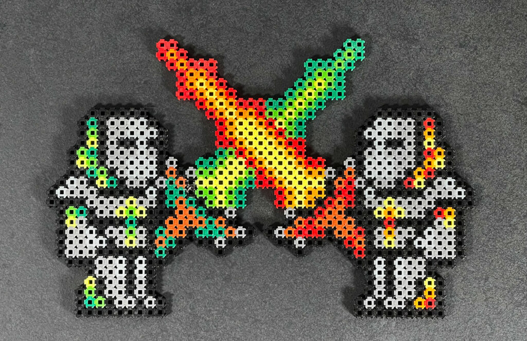 This is also a motif from Terraria - but at first it only consisted of one fighter and after a few days my son had the idea of making a second one. Something that is completely impossible with iron on beads.
