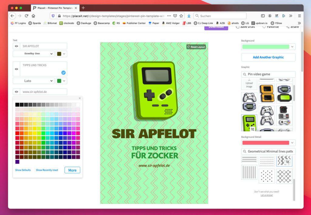 Auch Aufmacher-Grafiken für Pinterest und andere Social Media Plattformen lassen sich mit Placeit erstellen.