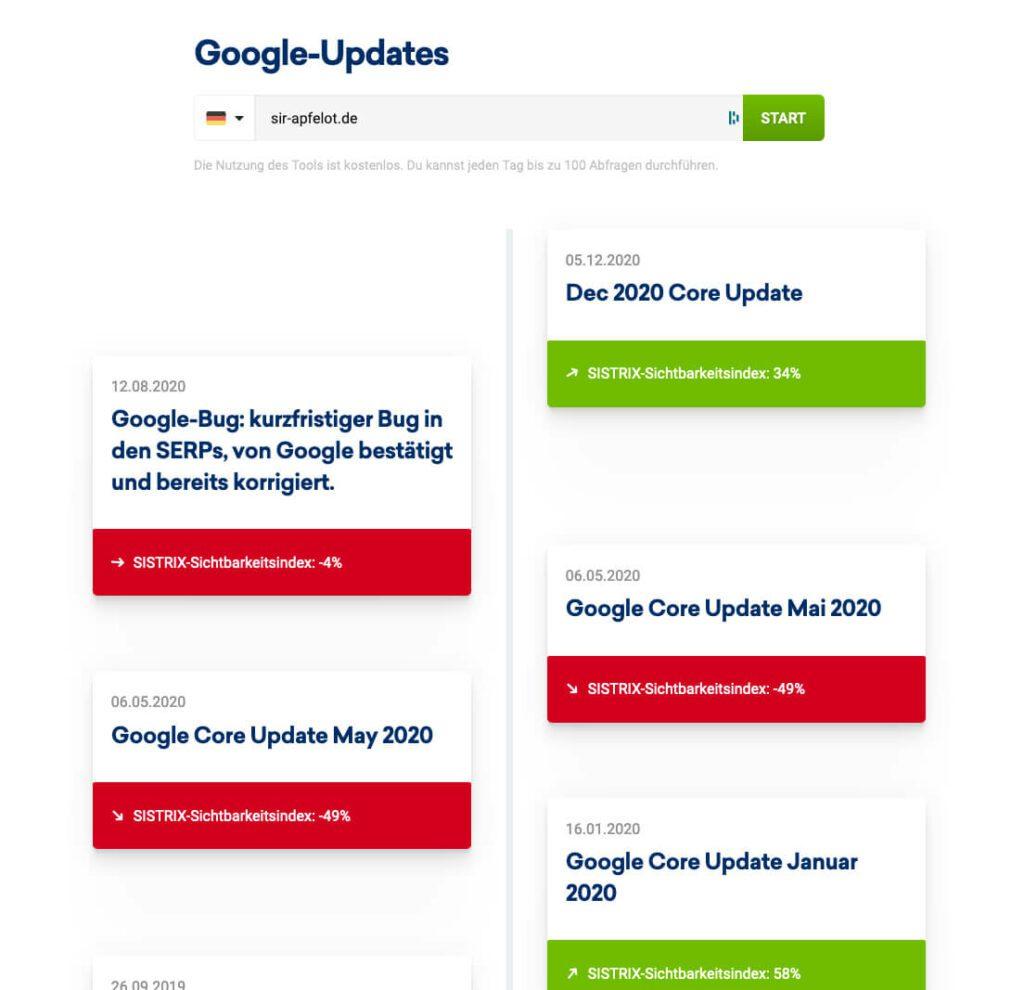 """Mit dem """"Google Update"""" Tool von Sistrix kann man schauen, welche früheren Google Updates zu Rankingverbesserungen oder -verschlechterungen geführt haben."""