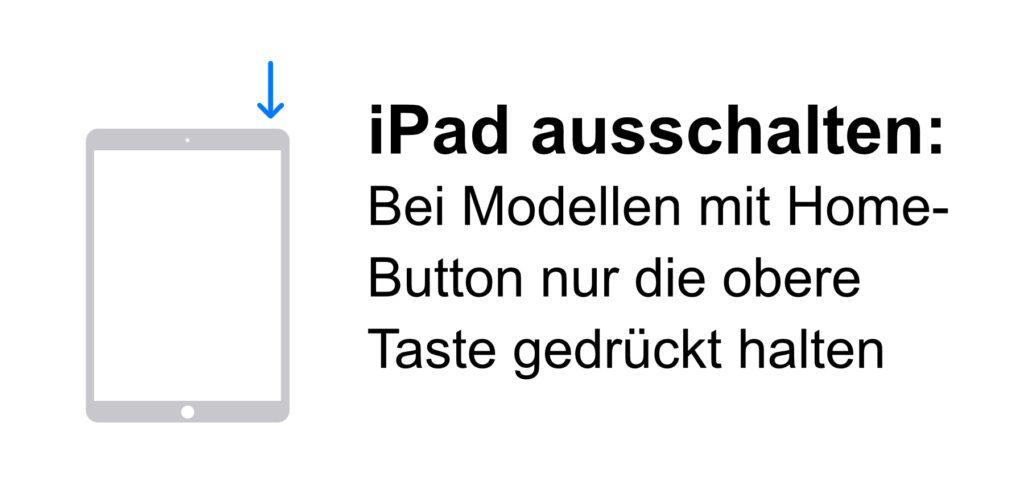 iPad ausschalten, wenn es einen Home-Button hat. Hier müsst ihr nur die obere Taste gedrückt halten, bis der Regler zum Abschalten erscheint.