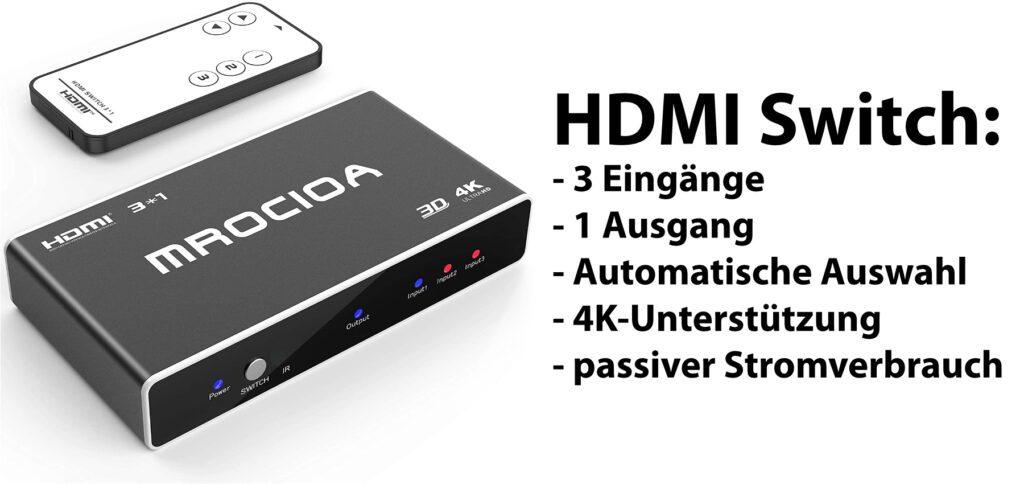 Dieser Günstige HDMI Switch mit 4K für Chromecast, Fire TV (Stick), Apple TV, Sky-Box, PlayStation, Xbox, Nintendo Switch und Co. bietet drei Eingänge, einen Ausgang, eine Fernbedienung und einen kleinen Preis!