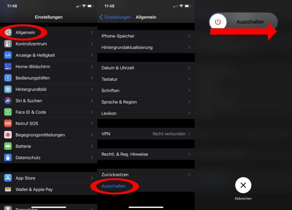Die zweite Möglichkeit zum Abschalten und Herunterfahren des iPhone 12 (mini / Pro / Pro Max) –über die iOS-Einstellungen den entsprechenden Menü-Punkt nutzen. Apple Handy abschalten