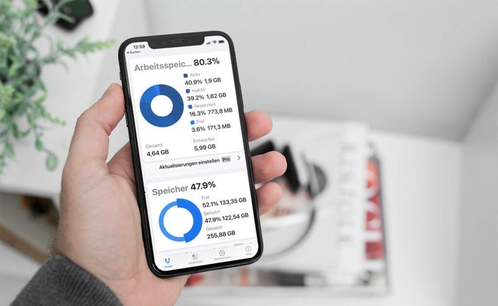 """Mit der App """"Usage sieht man auf einen Blick, wieviel Arbeitsspeicher im iPhone belegt, reserviert oder frei ist."""