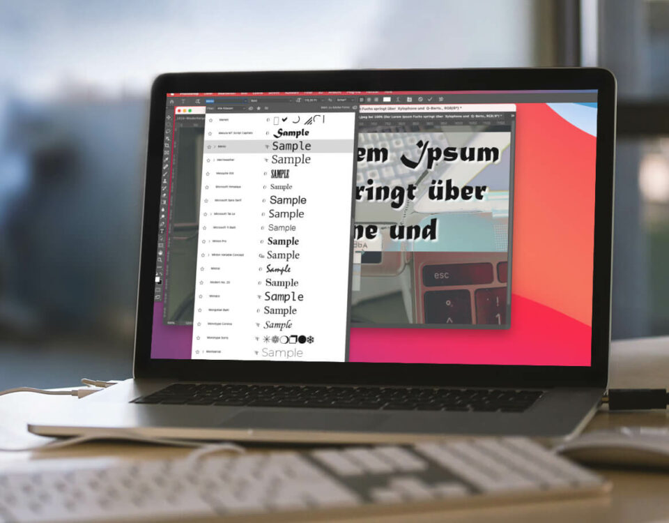 Schriftgröße in der Schriftvorschau von Photoshop anpassen
