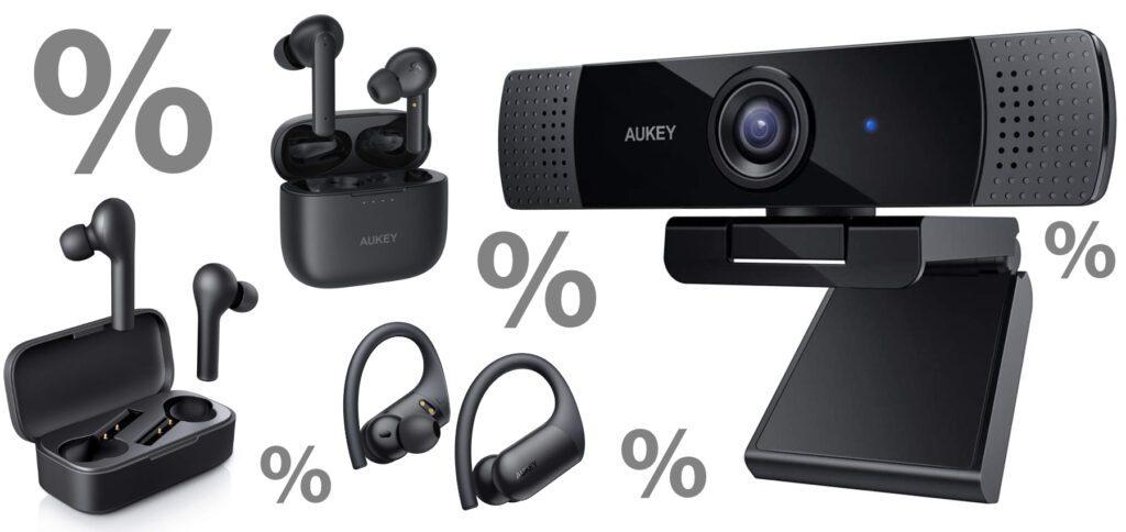Drei verschiedene True-Wireless-Kopfhörer sowie eine Full-HD-Webcam bekommt ihr von AUKEY günstiger. Informationen zur Kamera gibt's weiter unten.