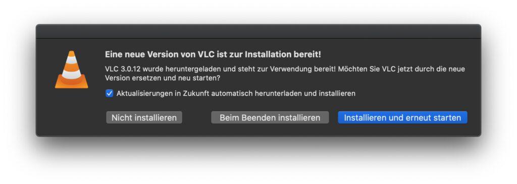 Steht das Update auf VLC 3.0.12 bereit, sieht der Hinweis darauf so oder so ähnlich aus. Auf M1-Macs sollte danach noch die Version 3.0.12.1 installiert werden.