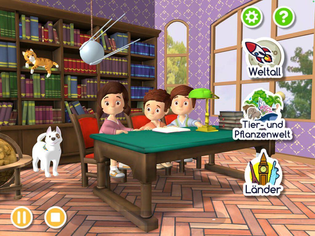 Im Hauptbildschirm sieht man rechts die Auswahl der Haupt-Themengebiete. Drückt man auf die Katze und den Hund, passiert nichts…solche Kleinigkeiten machen aber den Spaß bei Apps aus.