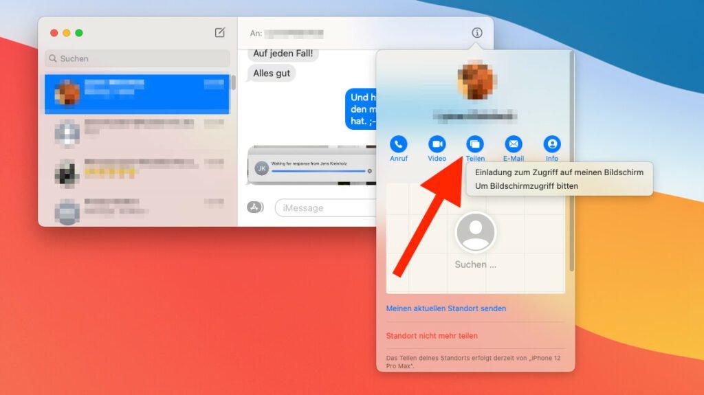 Klickt man auf den Teilen-Button, erhält man zwei Optionen zur Auswahl: Seinen eigenen Bildschirm mit jemandem teilen oder anfragen, ob die andere Person ihren Bildschirm mit einem teilen möchte.
