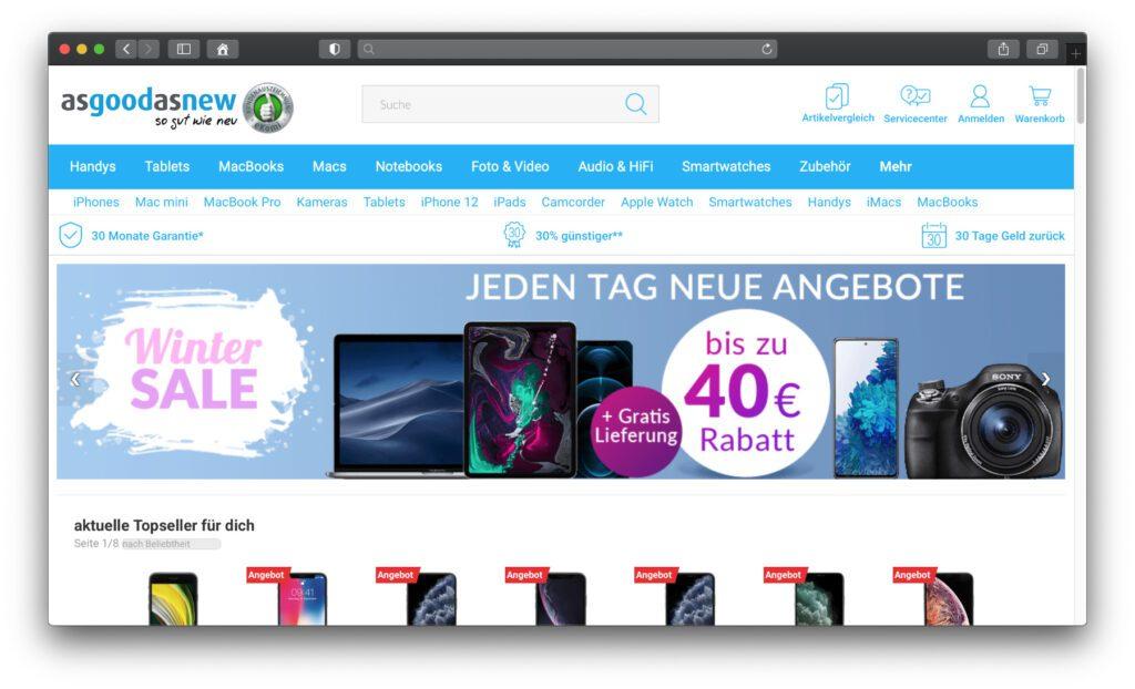 AsGoodAsNew.de – Hier bekommt ihr Technik und smarte Geräte gebraucht, aber in geprüftem Zustand. Refurbished in Deutschland und mit 30 Monaten Garantie.