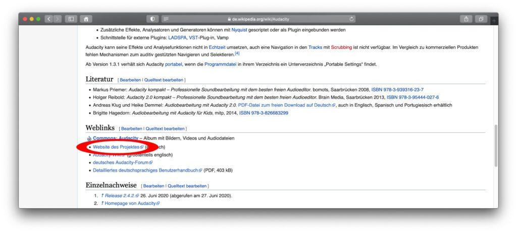"""Im Wikipedia-Artikel zur Audacity App findet ihr mit dem """"Webseite des Projekts""""-Link die offizielle Downloadseite zum Programm. Werdet ihr in der deutschen Wikipedia nicht fündig, sucht die gewünschte Software mal im englischen Pendant ;)"""