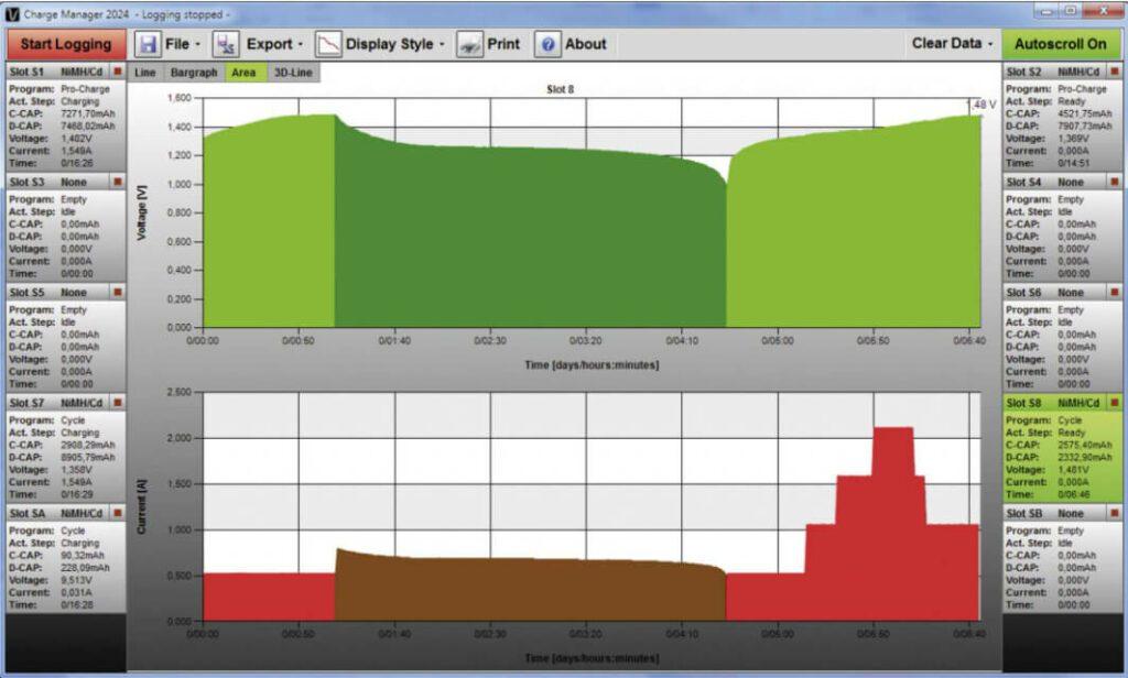 Hat man Zugriff auf einen Windows PC, kann man sich die Daten der Akkus auch in hübsch am Monitor anschauen.