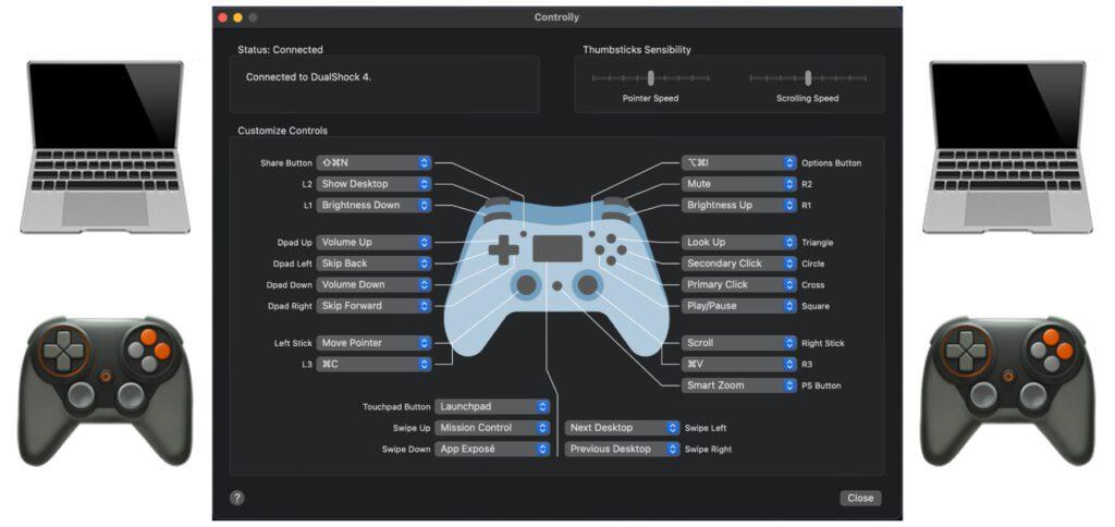 Mit der Controlly App für macOS 11.0 und neuer könnt ihr den Apple Mac mit einem Game-Controller steuern. So lassen sich System und Apps ohne Maus und Tastatur mit einem PS4- oder Xbox-Gamepad verwenden.