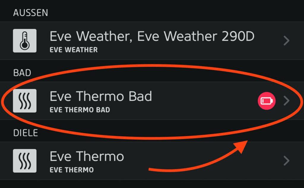Trotz komplett frischem Akku meint die Eve-App, dass die Batterie leer wäre – das wollen wir ändern.