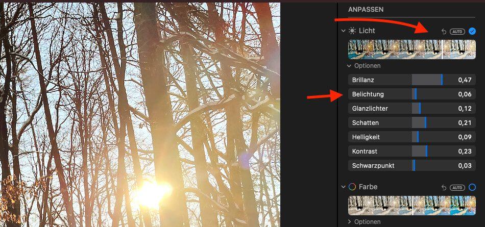 """Mit dem Regler """"Licht"""" kann man die Helligkeit im Foto erhöhen, ohne das Bereiche ausbrennen. Das Finetuning habe ich dann noch mit dem Regler """"Belichtung"""" erledigt, der man aber sanft einsetzen sollte."""