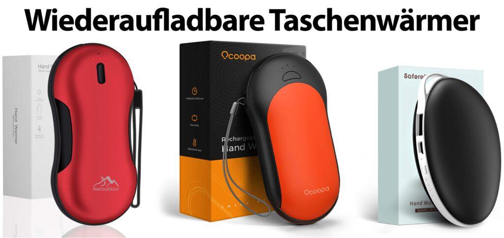 Wiederaufladbare Taschenwärmer mit USB-Anschluss findet ihr hier. Die elektrischen Handwärmer mit sehr guten Bewertungen und Prime-Versand wärmen die Hände und können als Powerbank genutzt werden.