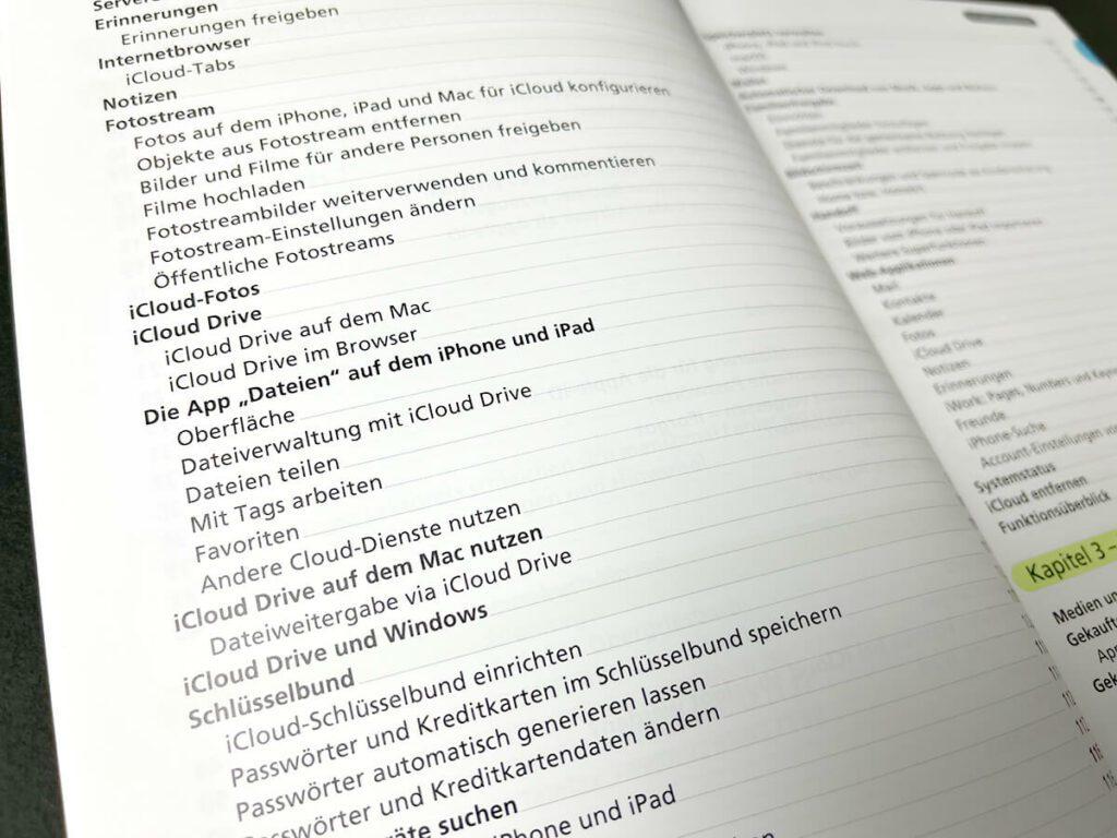 Am Inhaltsverzeichnis sieht man schon, wie umfassend das Buch ist. Es gibt sehr viele Funktionen in iOS, iPadOS und macOS, bei denen die iCloud mit arbeitet.