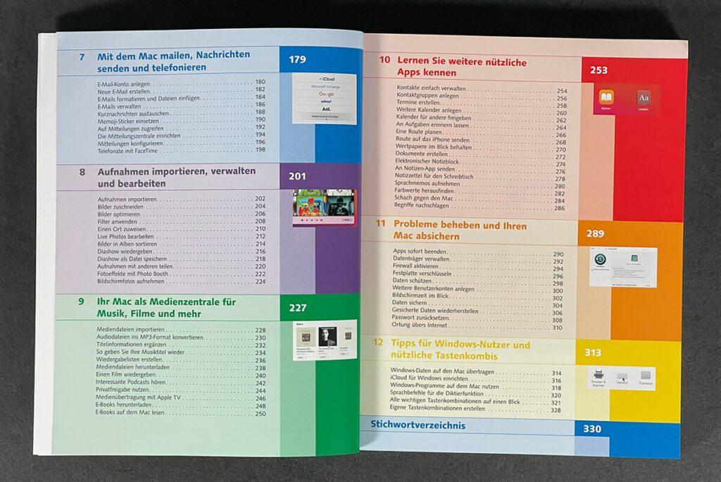Das Inhaltsverzeichnis ist schön übersichtlich und enthält alle Themen, die für Einsteiger interessant sind.