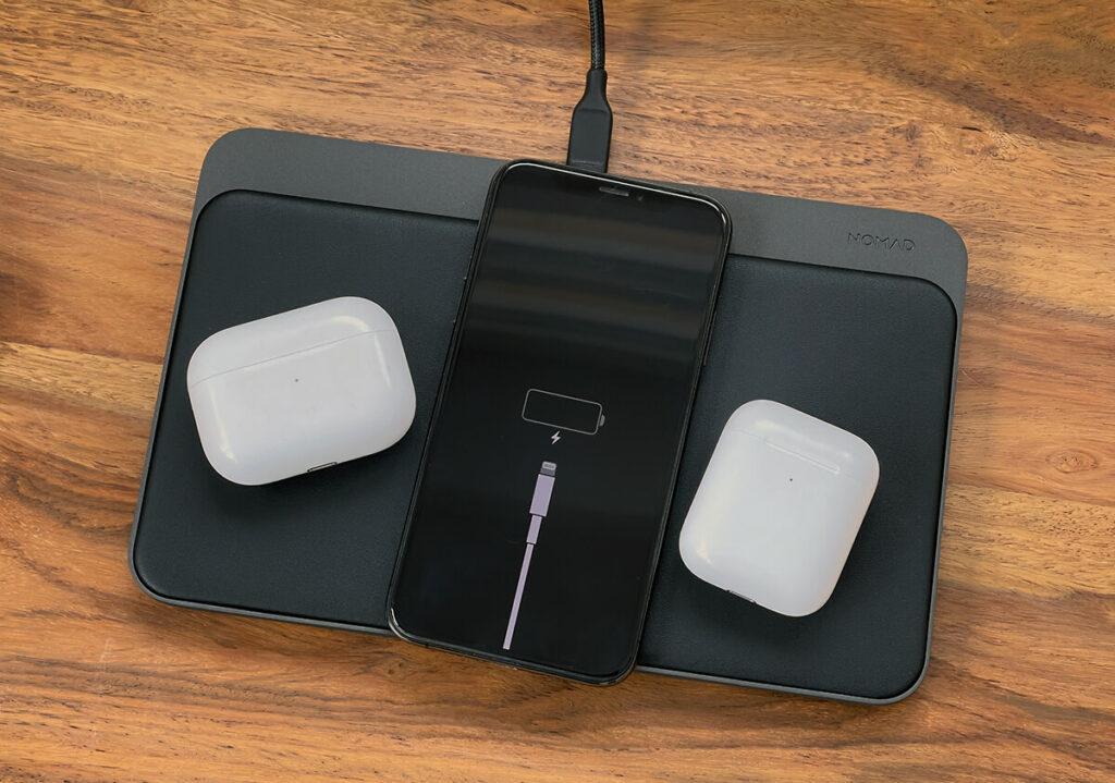 The Base Station Pro easily charges up to three devices via Qi charging.
