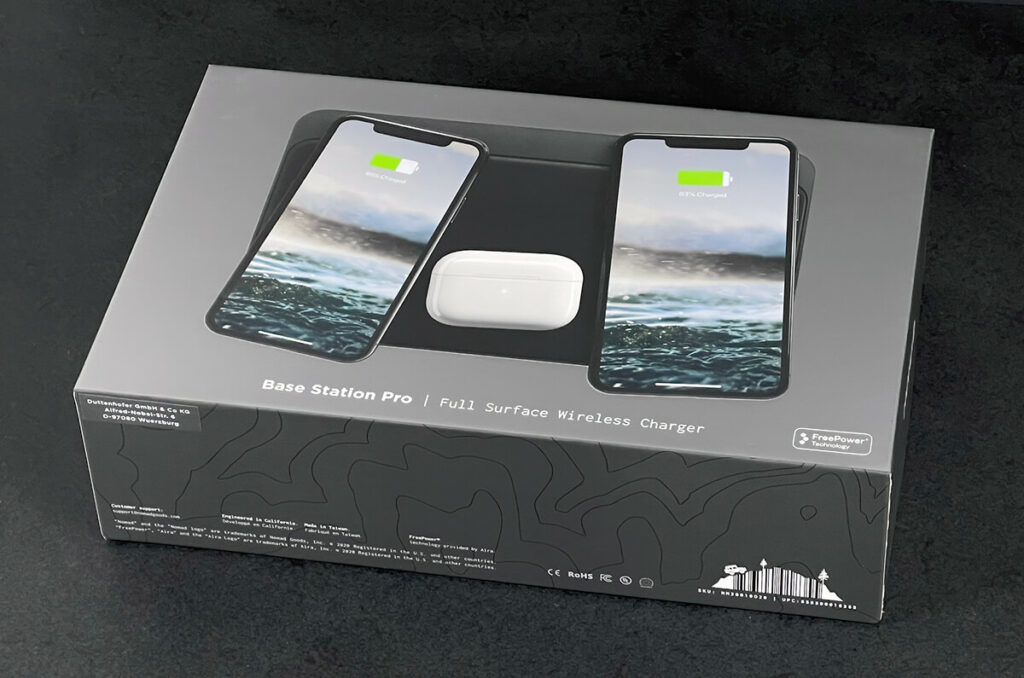 The Nomad Base Station Pro is a charging mat that can be used to wirelessly charge up to three Qi-Charging-enabled devices (such as iPhones or AirPods).