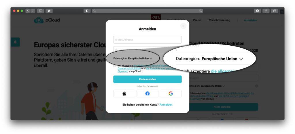 """Klickt ihr auf der Startseite oder im Menü auf """"Anmelden"""" und dann auf """"Registrieren"""", könnt ihr schnell und einfach ein pCloud-Konto anlegen. Dabei ist direkt der Serverort EU auszuwählen."""