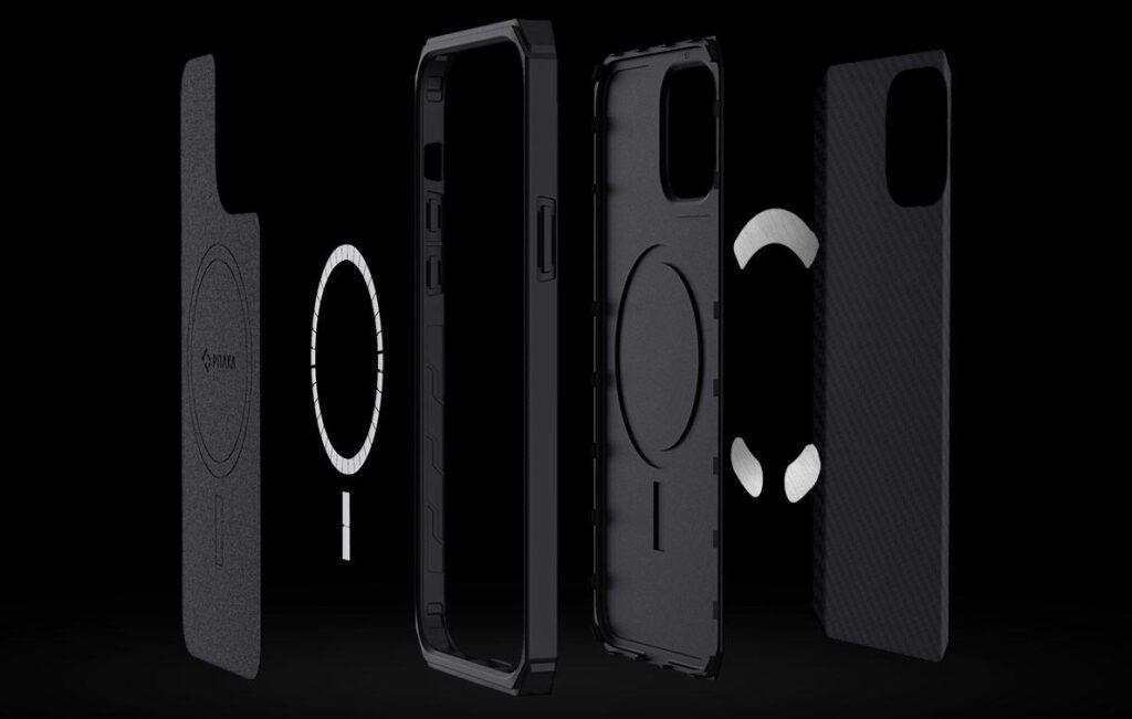 Aufbau des Pitaka MagEZ Case Pro für das Apple iPhone 12 (Pro / Pro Max / mini). Damit ergibt sich die Kompatibilität mit MagSafe- und anderen Magnet-Produkten als Zubehör.