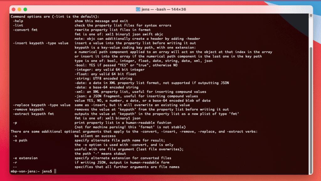 """Mit dem Befehl """"plutil -help"""" im Terminal bekommt man eine Liste der Optionen, mit denen man diesen Befehl nutzen kann."""