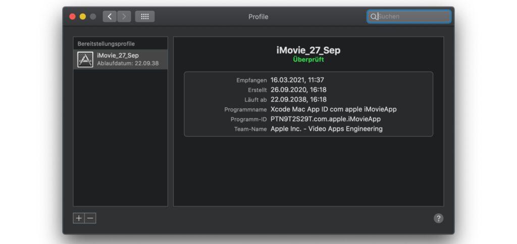 In den macOS-Systemeinstellungen auf dem Mac, iMac oder MacBook habt ihr den Punkt Profile und darin iMovie_27_Sep gefunden? Das ist nicht schlimm, ihr könnt das Bereitstellungsprofil einfach löschen.