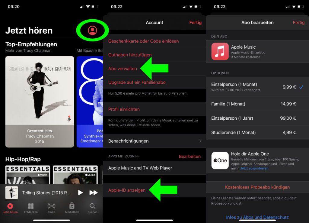 In der Apple Musik App kommt ihr, falls ein Abo aktiviert ist, über zwei verschiedene Wege zu den nötigen Einstellungen (s. Pfeile).
