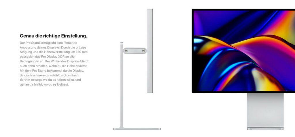 Der Apple Pro Stand ist nicht im Lieferumfang des Apple Pro Display XDR enthalten (Fotos: Apple).