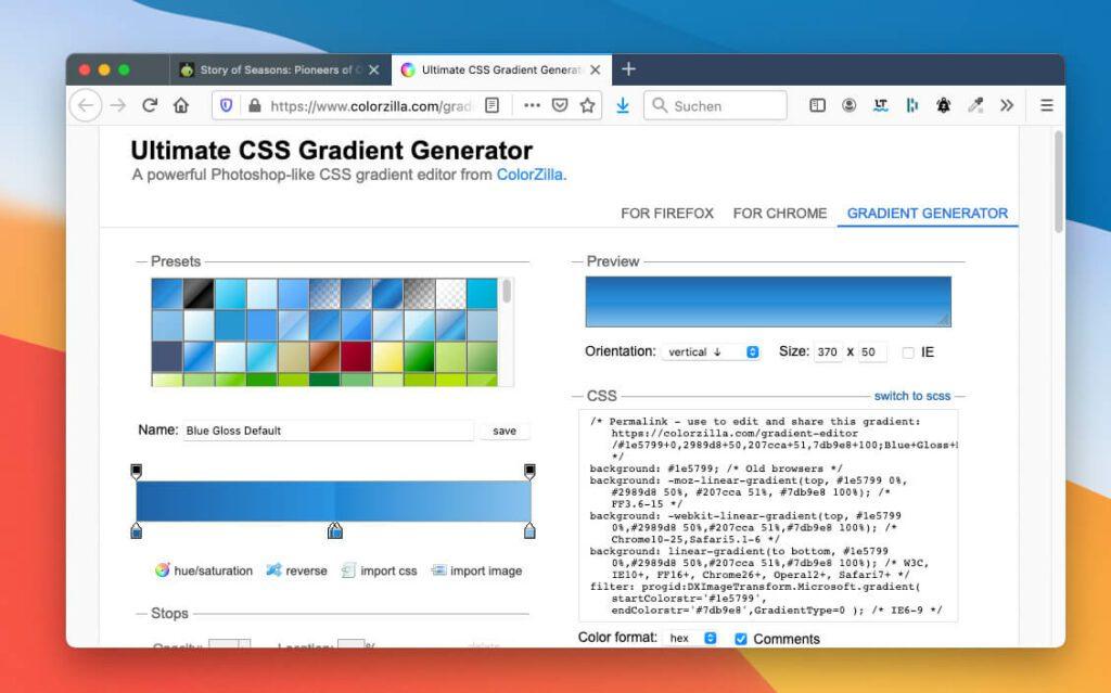 Der CSS-Code für Verläufe kann schnell recht komplex werden. ColorZilla macht daraus eine Copy und Paste Aufgabe, die man auch als Einsteiger leicht erledigen kann.