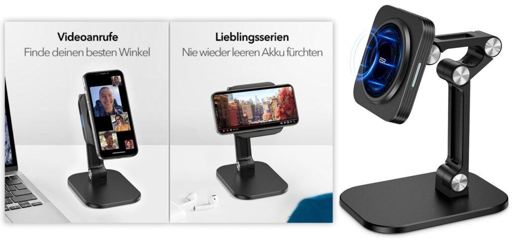 Der ESR HaloLock Ladeständer für die Apple iPhone 12 Reihe bietet neben Qi-Charging auch die Möglichkeit, das Smartphone im Querformat, im Hochformat sowie in allen anderen Winkeln zu nutzen.