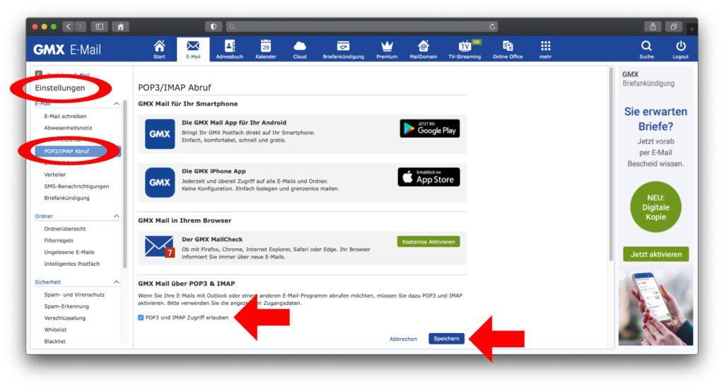 Funktioniert das Abrufen und Verschicken von E-Mails über die Mail App nicht, loggt euch auf der GMX-Webseite ein und erlaubt den Zugriff über IMAP / POP3. Weitere Screenshots und Tipps gibt's in der WEB.de-Anleitung.