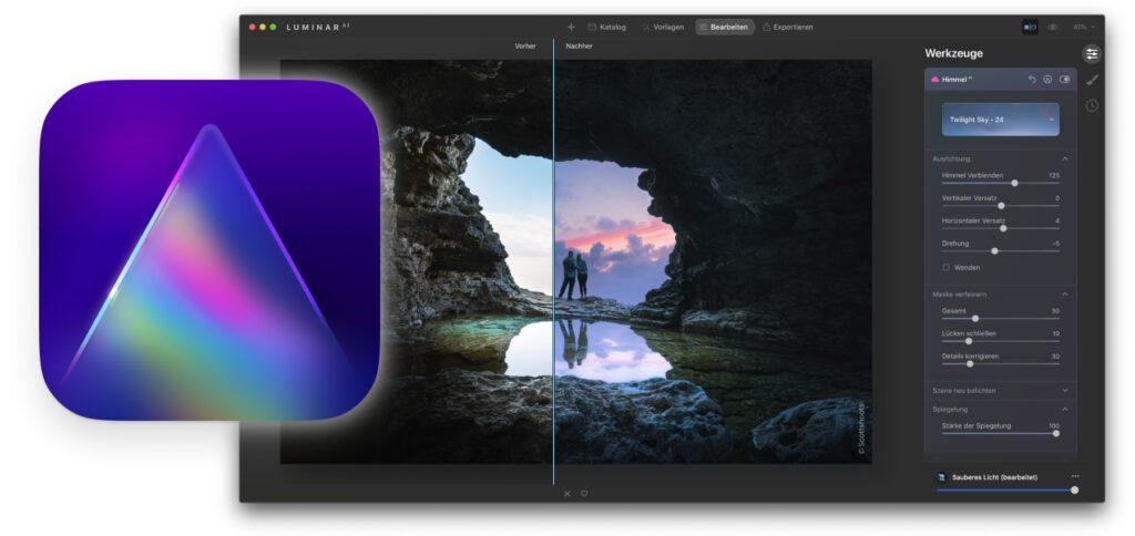 Heute bringt Skylum das Luminar AI Update 2 heraus. Dieses bringt nicht nur Wasser-Reflexionen beim Austausch des Himmels, sondern auch neue Funktionen für Vorlagen und Texturen sowie die Unterstützung von weiteren Kamera-Modellen.