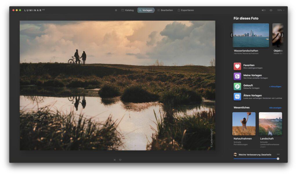 Hier seht ihr die Arbeit mit Vorlagen in der Skylum-App für die Fotobearbeitung mit künstlicher Intelligenz. Die Oberfläche ist nun übersichtlicher und bietet einen besseren Workflow.