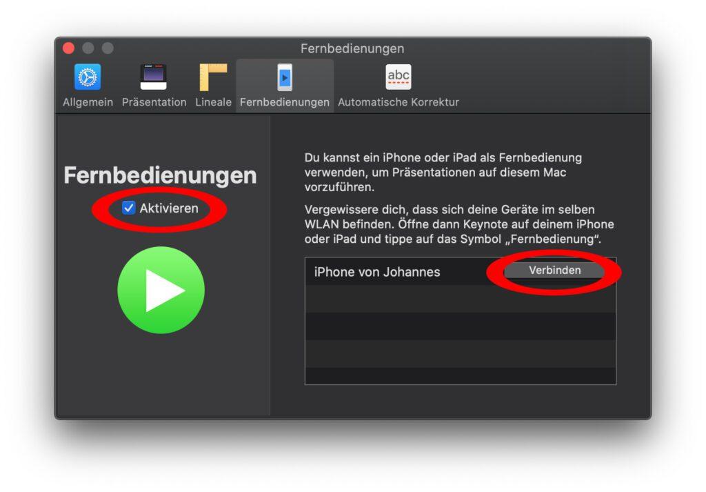 Als erstes müsst ihr am Apple Mac in Keynote die Verwendung von Fernbedienungen aktivieren. Nach dem Vorgehen am iPhone wird dieses in der Geräteliste angezeigt.